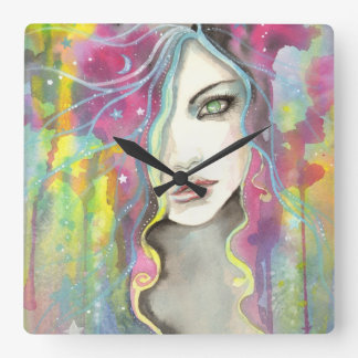 Celestial Vision Girl in the Stars Pop Fantasy Art Square Wall Clock