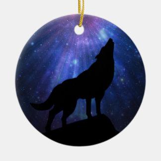 Celestial Wolf Ceramic Ornament