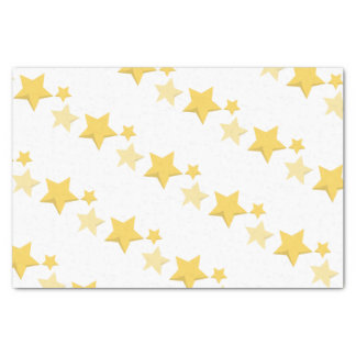 Celestial Yellow Cute Stars Baby Shower Tissue Paper