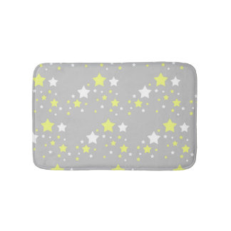 Celestial Yellow White Stars on Grey Gray Bath Mat