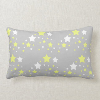 Celestial Yellow White Stars on Grey Gray Lumbar Pillow