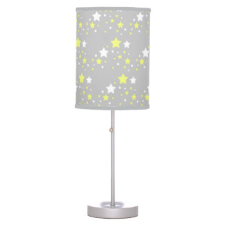 Celestial Yellow White Stars on Grey Gray Nursery Table Lamp