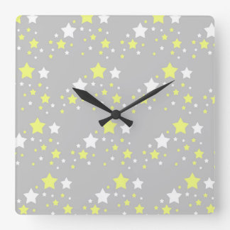 Celestial Yellow White Stars on Grey Gray Square Wall Clock