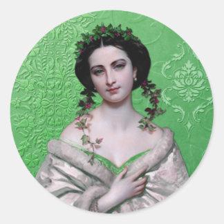 CELIA, 1800s CLASSIC PORTRAIT in GREEN Round Sticker