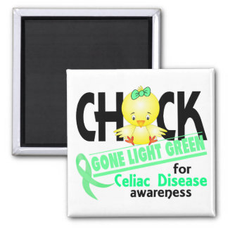 Celiac Disease Chick Gone Light Green 2 Square Magnet