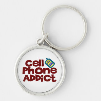Cell Phone Addict Silver-Colored Round Keychain