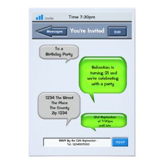 Cell Phone Text Party 5x7 Paper Invitation Card