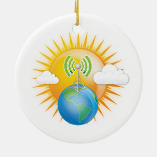 CELL TOWER EARTH ROUND CERAMIC ORNAMENT