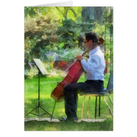 Cellist in the Garden Card