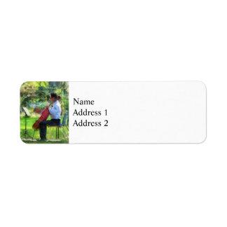 Cellist in the Garden Return Address Label