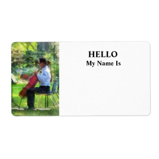 Cellist in the Garden Shipping Label
