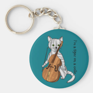 Cello and a Tiger Cat Basic Round Button Keychain