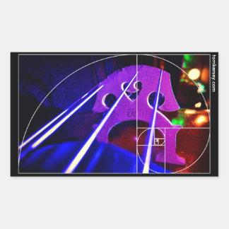 cello bridge and strings with Fibonacci spiral
