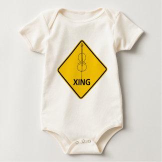 Cello Crossing Highway Sign Baby Bodysuit