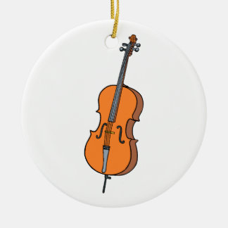 Cello Graphic , ViolinCello Music Design Ceramic Ornament