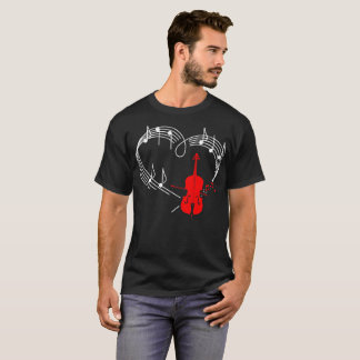 Cello Music Instrument Heartbeat Rythm Tshirt