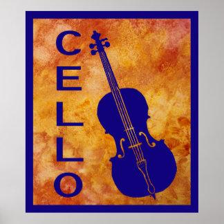 Cello on Orange Poster
