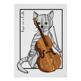 Cello Played by a Tiger Poster