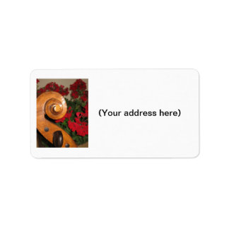 Cello Scroll Flowers address labels