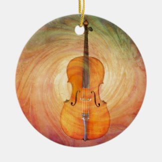 Cello with warm colorful textured background. ceramic ornament