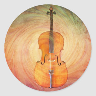 Cello with warm colorful textured background. classic round sticker