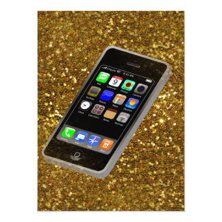 "cellphone bling 5.5"" x 7.5"" invitation card"
