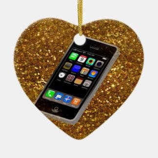 cellphone bling ceramic heart ornament
