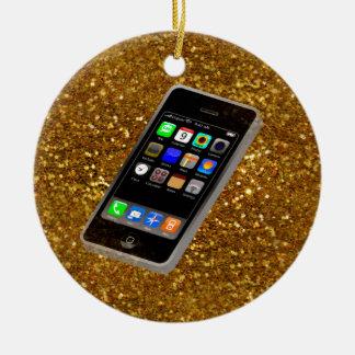 cellphone bling round ceramic ornament