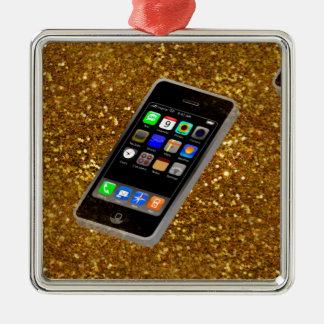 cellphone bling Silver-Colored square ornament