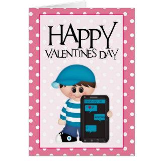 Cellphone Love Little Boy Valentine Greeting Card