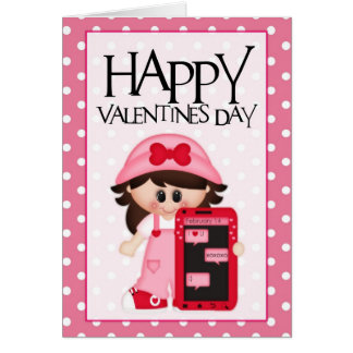 Cellphone Love Little Girl Valentine Greeting Card