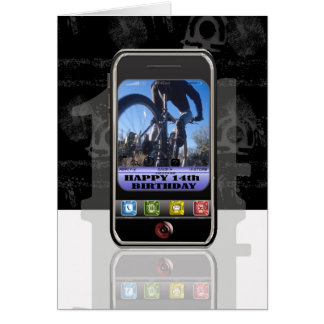 Cellphone, mobile phone text message Happy Birthda Greeting Card