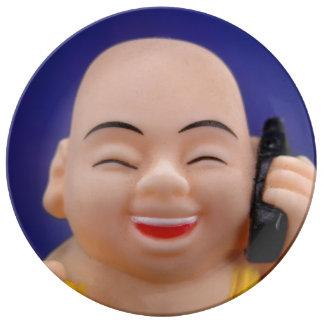 Cellphone Monk Plate Porcelain Plates