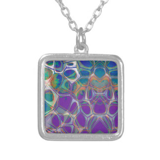 Cellular Abstract Pattern 17 Silver Plated Necklace