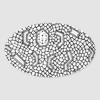 Cellular Indonesian Textile Pattern Oval Sticker