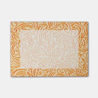 Celosia Orange Vintage Scrollwork Graphic Design Post-it® Notes
