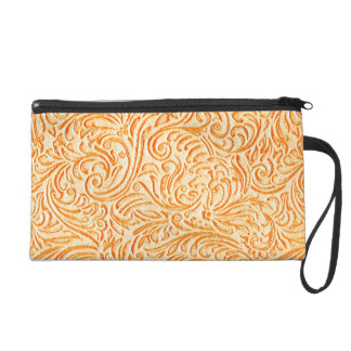 Celosia Orange Vintage Scrollwork Graphic Design Wristlet Purse