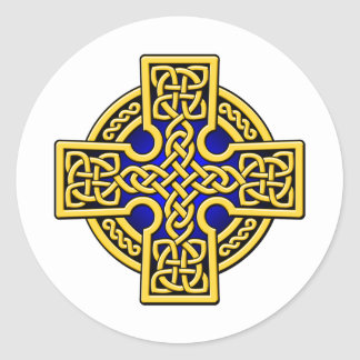 Celtic 4 way gold and blue round sticker
