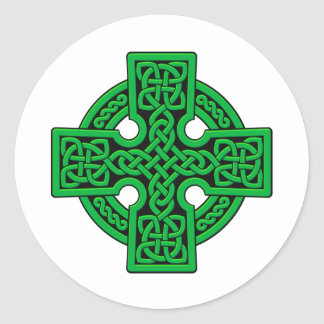 Celtic 4 way green classic round sticker
