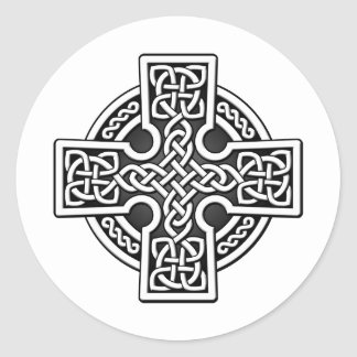 Celtic 4 way silver and black round sticker