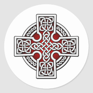 Celtic 4 way silver and red round sticker