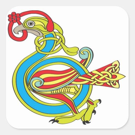Celtic Bird Square Sticker