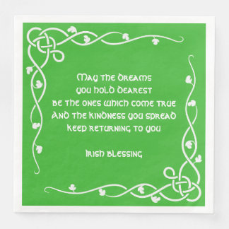 Celtic Braid - White and Green Irish Blessing (#1) Disposable Napkins