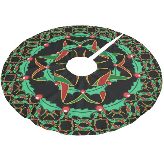 Celtic Christmas Holly Wreath Pattern Brushed Polyester Tree Skirt