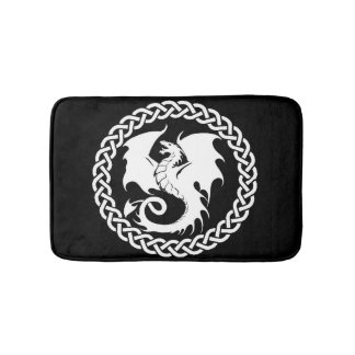 Celtic Circle Dragon Black Bath Mat