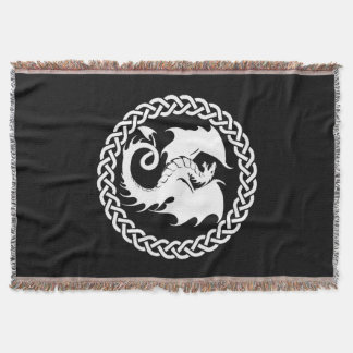 Celtic Circle Dragon Black Throw Blanket