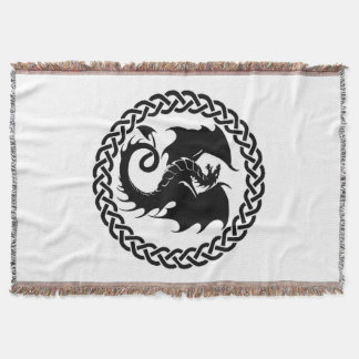 Celtic Circle Dragon White Throw Blanket