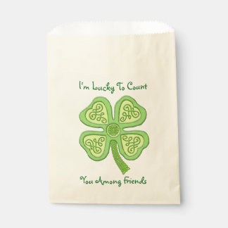 Celtic Clover Green 4-Leaf Lucky Irish Patricks Favour Bag