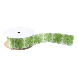 Celtic Clover Green 4-Leaf Lucky Irish Patricks Satin Ribbon