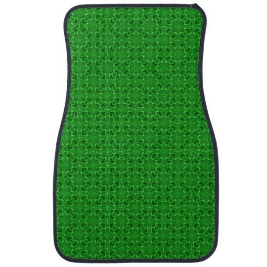 Celtic Clover Green Kaleidoscope Car Mats  Front